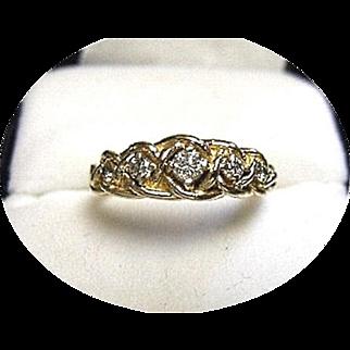 Diamond Ring - Rope Braided Band - Vintage 14K Yellow Gold