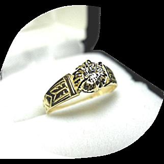 Diamond Engagement Ring - .26 Carat - 18k Yellow Gold - Art Deco Vintage Mounting