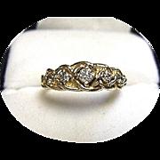 14k Diamond Band / Ring - Rope Braided Vintage Design - Yellow Gold