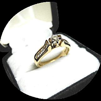 Diamond Engagement Ring - Vintage Design 14K Yellow Gold