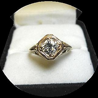 DIAMOND Ring - Brilliant .68 Carat SI1, HI Color - Art Deco 14K Filigree Yellow Gold