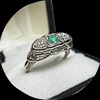EMERALD, Diamond, Engagement Ring - Art Deco - Vintage Filigree 14k White Gold