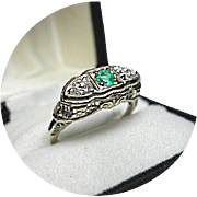 EMERALD, Diamond, Engagement Ring - Art Deco - Vintage Filigree 14k White Gold