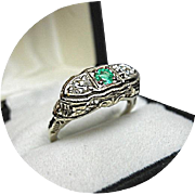 14k Ring - EMERALD, Diamond Ring - Art Deco - Vintage Filigree White Gold
