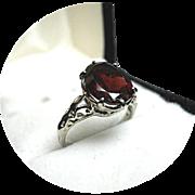 Bohemian GARNET Ring - 3.28 Carat - Art Deco - Vintage Filigree - 14K White Gold