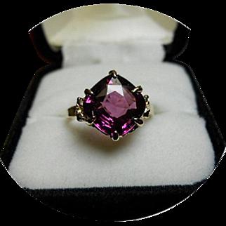 Rhodolite Garnet Ring - Purple Tint - Cushion Cut - Vintage 14k Yellow Gold