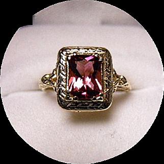 14k Rhodolite Garnet Ring - 1+CT - Vintage c1950's - Yellow Gold Filigree Mounting