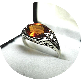 Spessartite - Orange Garnet - Heart Design Filigree Ring - 2.25CT - 14k White Gold