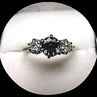 Indicolite Tourmaline - Diamond - Art Deco - Engagement Ring - 14K White Gold Filigree