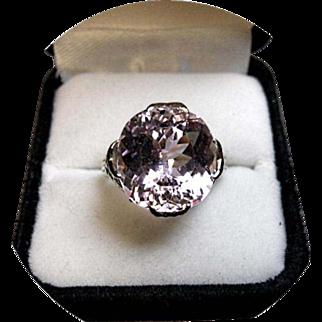 KUNZITE - Cushion Cut Gem - Natural Earth Gem - 10.89 CT - 14k White Gold Ring