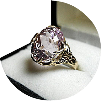 KUNZITE Ring - 9.20CT - Oval Faceted - Natural Earth Gem - 14k Yellow Gold