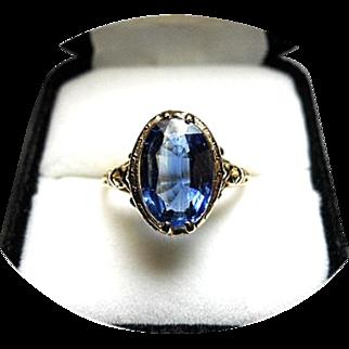 Kyanite Ring - 3.13ct - Natural Earth Gem - Fabulous Color - 14K Filigree Yellow Gold