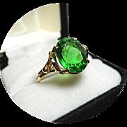 Moldavite Tektite 14k Yel. Ring, 'Star Born, Meteor Gem' - 4.28Ct - Bright Green