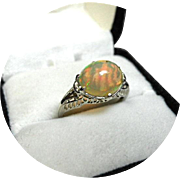 Welo Fire OPAL Art Deco Ring - 2.10CT - Cab. Cut - Vintage Filigree 14k White Gold