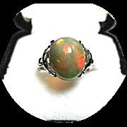 African Black OPAL Ring! - 3.15CT - Cabochon Cut - Art Deco - Vintage - 14k White Gold