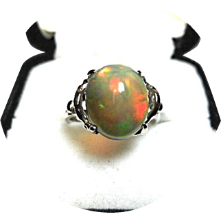 African Black OPAL Ring! - 3.15CT - Cabochon Cut - Art Deco - Vintage - 14k White Gold