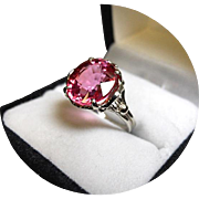 14k Ring - Padparadscha Sapphire - Raspberry - 6.85 Ct Ring - Vintage White Gold