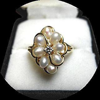 Pearl - Diamond Ballerina Ring - Vintage 14k Yellow Gold - NICE!