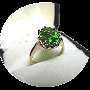 PERIDOT Ring - Rare Dark Green Color - 2.16 CT! - Vintage 14k Yellow Gold