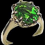 PERIDOT Ring - Kelley-Green - Natural Gem - 2.16 Ct - Vintage - 14k Yellow. Gold