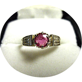 RUBY Engagement Ring - Lovely 18k Gold - Early Vintage Engraved White Mounting