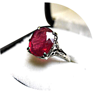 RUBY Ring - 3.80 CT - Art Deco, Art Deco, Vintage Filigree 14k White Gold