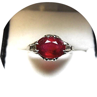 African RUBY Ring - 3.23 Carat - Vintage Carved 14k White Gold Mounting