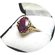 African RUBY Ring - 3.99 Carat - Vintage 14k Yellow Gold - Carved - Filigree