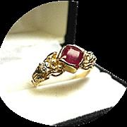 RUBY Ring - Cushion Cut - Diamond Brilliant .30 TCW - Vintage 14k Yel. Gold