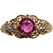 RUBY - Pigeon Blood and Diamond Ring - Art Deco Vintage 14k Yellow Gold