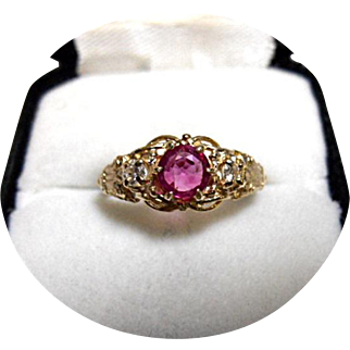 14k RUBY - Pigeon Blood and Diamond Ring - Art Deco Vintage - Yellow Gold