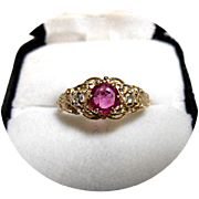 14k RUBY Ring - Pigeon Blood - Diamond - Art Deco Vintage - Yellow Gold