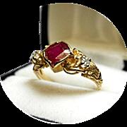 RUBY - DIAMOND Ring - Engagement - Vintage 14k Yellow Gold