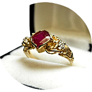 NICE! - African Ruby and Diamond Ring - Vintage 14k Yellow Gold