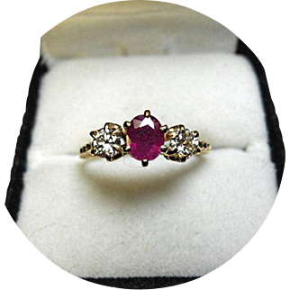 Ruby 'African' & Diamond - Engagement Ring - Vintage 14k Yellow Gold