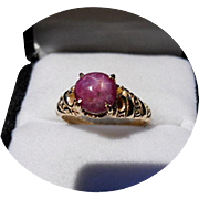 14k Ring - STAR RUBY - 2.70 Carat - Vintage Carved - Yellow Gold
