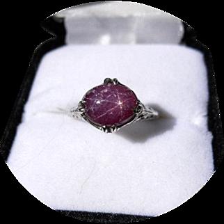 Star RUBY Ring - 3.75 CT - Natural Earth Gem - Vintage Filigree 14k White Gold