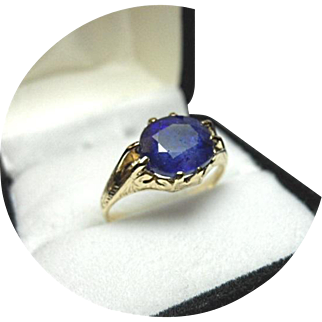 Blue Sapphire Ring - 3 Carat - Natural Earth Gem - Vintage Engraved 14K Yellow Gold
