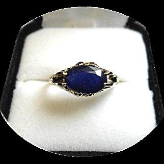 Blue Sapphire Ring - 3 Carat - Natural Earth Gem - Vintage Engraved 14K Y. Gold