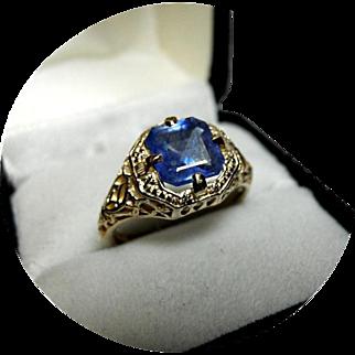 14k Ring - Blue Sapphire - 2.07CT - Vintage, Art Deco, 14k Yellow Gold Filigree
