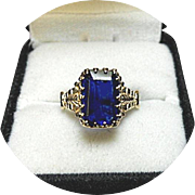 14k Blue Sapphire Ring - 2.70 CT - Natural Earth Gem - Vintage Yellow Gold