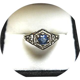 Sapphire Blue Engagement Ring - Cornflower Blue - Art Deco Filigree - 14k White Gold