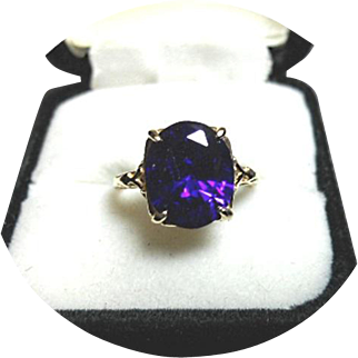 "14K Yellow Gold Art Deco Ring - Lavender Sapphire ""CHATHAM"" - 3.90CT Lab Created"