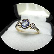 Nice! Blue Sapphire - Diamond Engagement Ring - Vintage 14k Yellow Gold