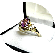 Natural PINK Sapphire & Diamond Engagement Ring - 18K Yellow Gold - Vintage
