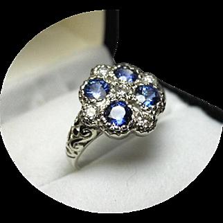 Ceylon Sapphires, Cornflower Blue - Diamond Dinner Ring - Art Deco 14K W. Gold