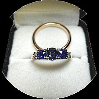 Ring Set - Sapphires, Diamond Engagement Ring - Platinum 10% IRID - Wedding Band - 14k Yellow Gold Vintage