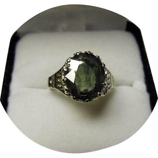 green sapphire ring 3 70ct vintage 14k white gold