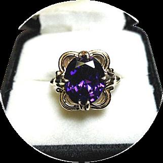 14k Lavender Sapphire Ring - 5.75CT - Fleur-de-lis Design - Vintage Yellow Gold