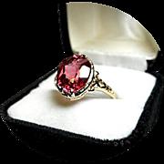 14k Ring - Raspberry Padparadscha Sapphire - 5.5 Carat - Vintage 14k Yellow Gold